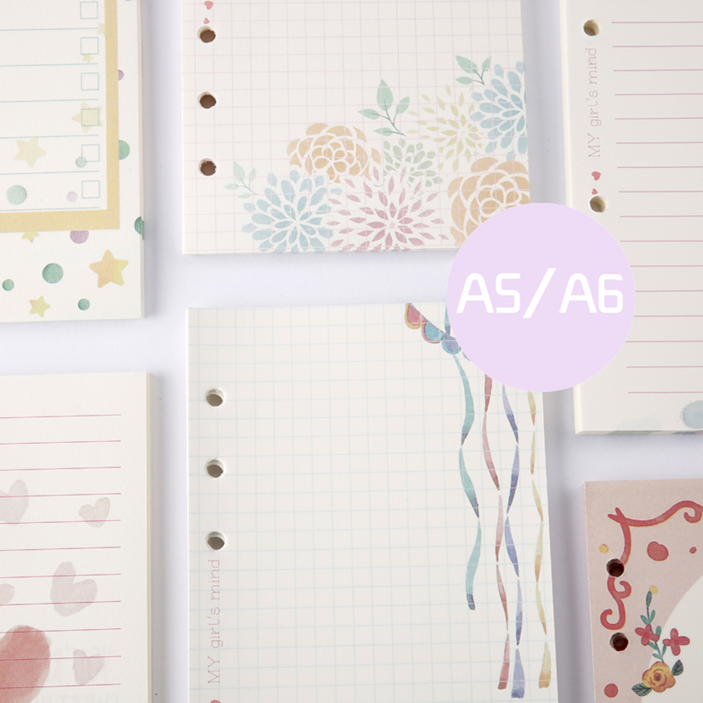 Cute 100sheets Notebook Filler Papers A5A6 Diary Color Inner Core Planner Paper Girl Series Inside Page Gifts Stationery In Notebooks From Office