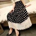 Plus Size Vestidos Long Skirts 2015 Vestidos Femininos Vintage Skirts Polka Dot Lace Skirt Faldas Largas Women Skirts