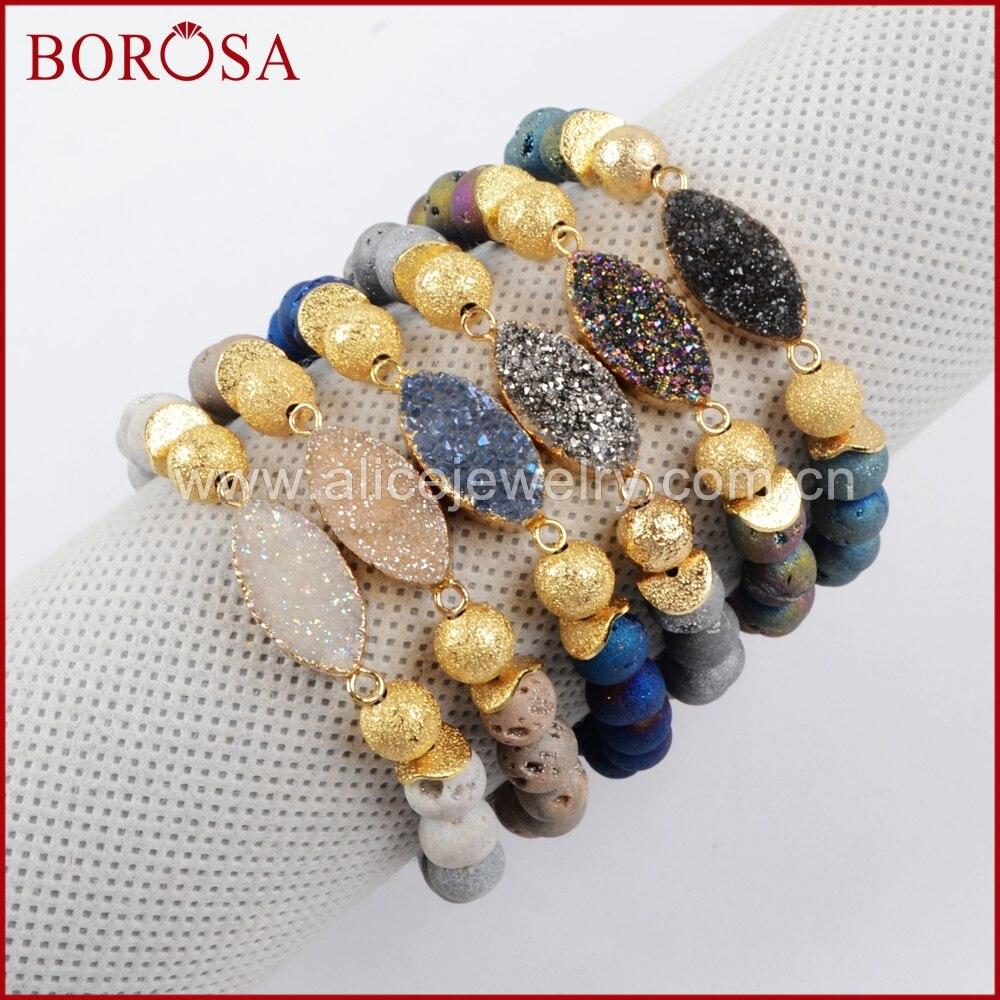 BOROSA 5PCS New Handcrafted Druzy Bracelets, Fashion Gold Color Marquise&8mm Rainbow Titanium Druzy Stone Beads Bracelet G1376