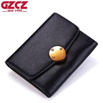GZCZ Cüzdan Kadın Hakiki Deri Portafoglio Donna Lüks Marka Bayanlar Mini Çanta Moda Cüzdan Kadın kart tutucu Para Çantası