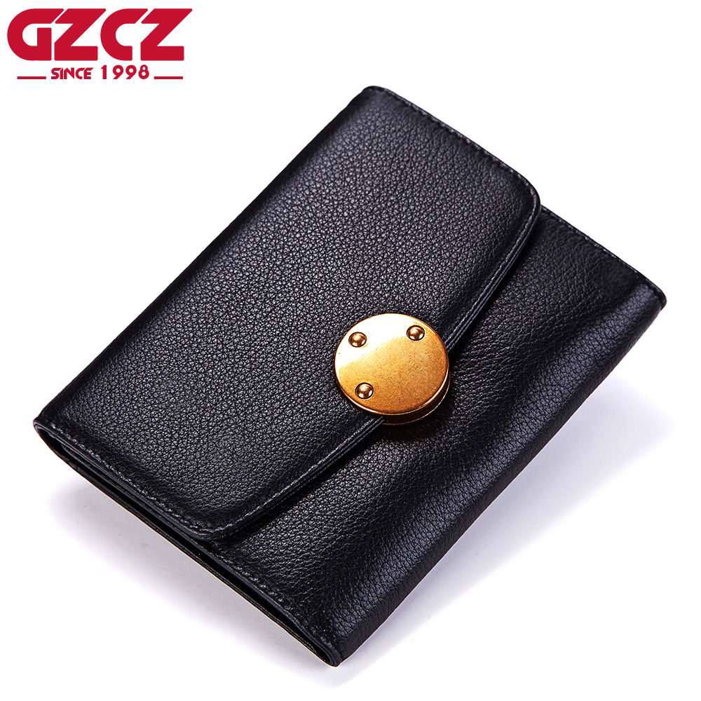 GZCZ Wallet Women Genuine Leather Portafoglio Donna Luxury Brand Ladies Mini Purse Fashion Walet Woman Card Holder Money Bag