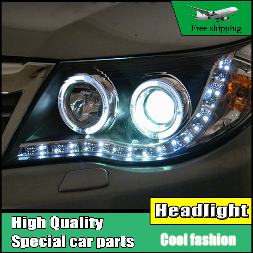 car Styling Head lamp For Subaru Forester 2008-2012 Headlights LED Headlight Angel Eyes DRL HID Xenon Low Beam bi xenon lens akd car styling for nissan teana led headlights 2008 2012 altima led headlight led drl bi xenon lens high low beam parking