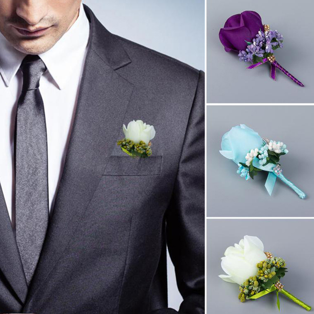 ivoire rouge meilleur homme corsage pour mari groomsman soie rose fleur costume de mariage. Black Bedroom Furniture Sets. Home Design Ideas
