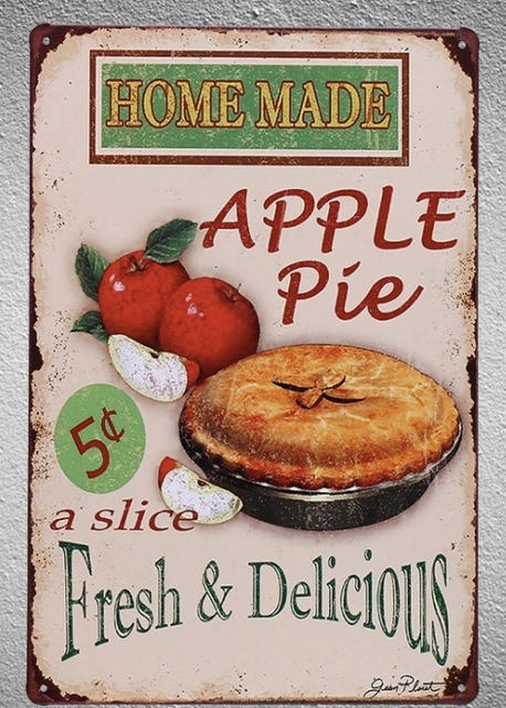 1pc Homemade Apple Pie Cake Store Shop Bakery Tin Plate Sign Wall