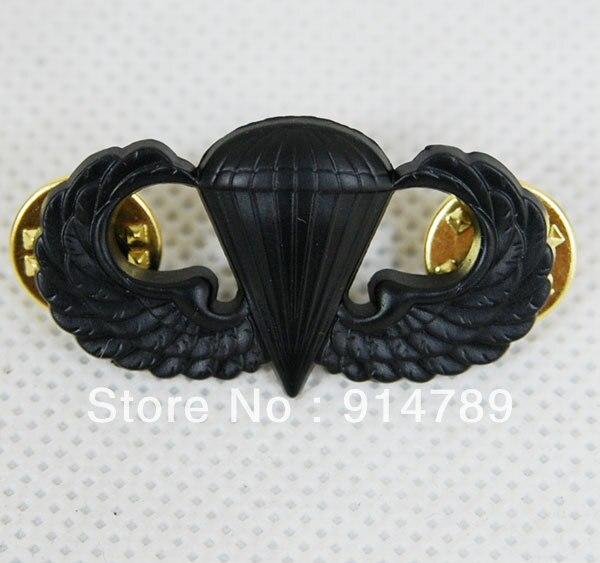 US ARMY PARACHUTIST METAL BADGE BASIC JUMP WINGS BLACK -32475