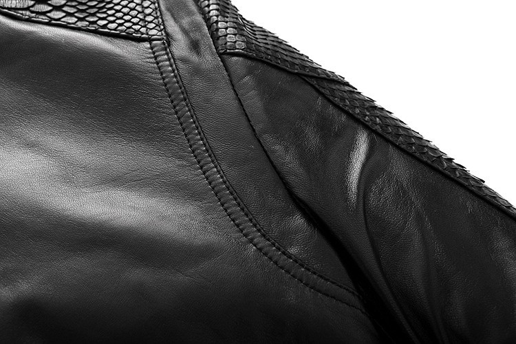 Men\'s high quality Sheepskin Leather Jackets Coat Men\'s jacket Motorcycle jacket Coat parka Men\'s leather python skin Warm (30)