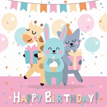 Laeacco Rabbit Cat Deer Balloon Flag Baby Birthday Photography Backgrounds Customized Photographic Backdrops for Photo Studio