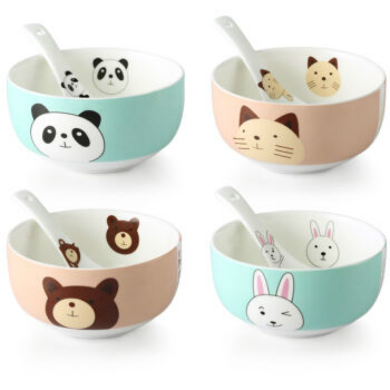 Beisesi 4 Pcs/ Set ceramic bowl Cartoon porcelain Food box Container Children Noodle Rice Soup Tableware Bowls with 4 Spoons