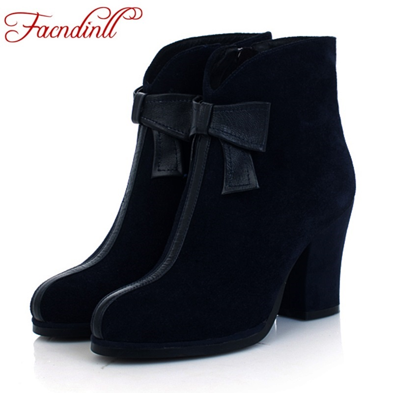 womens autumn winter boots 100% genuine suede leather woman ankle boots zip bow-tie female spring casual shoes platform boots