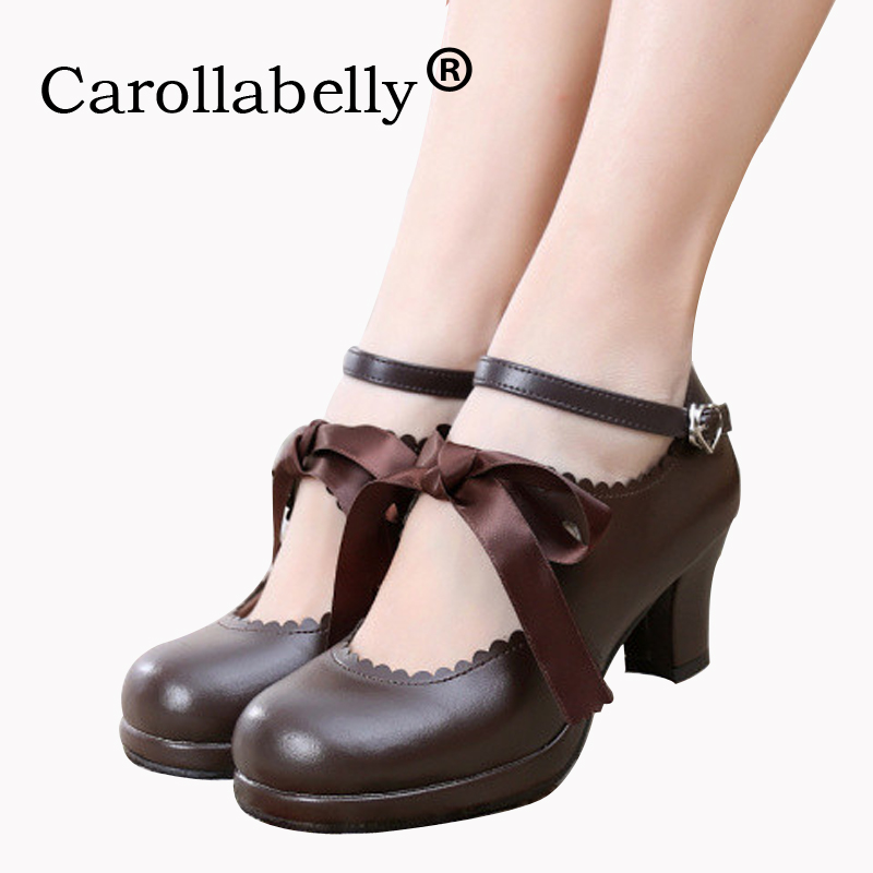 Carollabelly Sweet Princess Party Shoes Soft Leather Women Pumps Cosplay Buckle Straps Round Toe Platform Lolita Shoes lin king mary janes women flats shoes sweet patent leather princess shoes student lolita shoes round toe cosplay party shoes