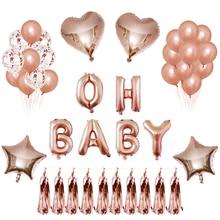 Rose Gold Happy Birthday Balloon Confetti Latex Love Baloon Foil Balloons Set Oh Baby Shower Boy Girl Wedding Party Deco
