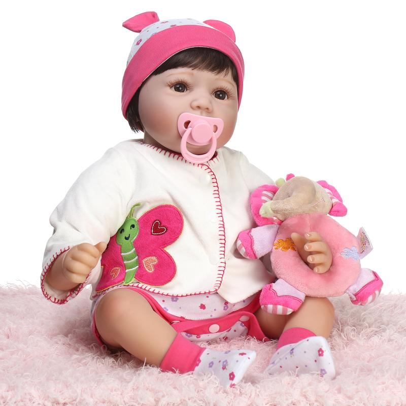 NPK 22 Cute girl reborn baby dolls with mangetic Pacifier elephant rattle Doll accessories children gift toys brinquedos silver plated baby rattle keepsake set perfect gift idea