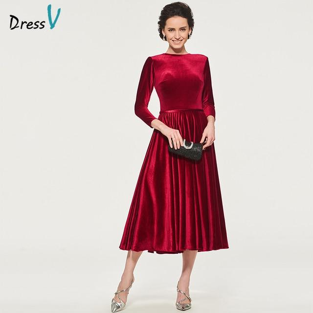 dd946df874f Dressv Red Mother Of The Bride Dress Scoop Neck A Line Three Quarter  Sleeves Tea Length Velvet Sashes Custom Mother Dress
