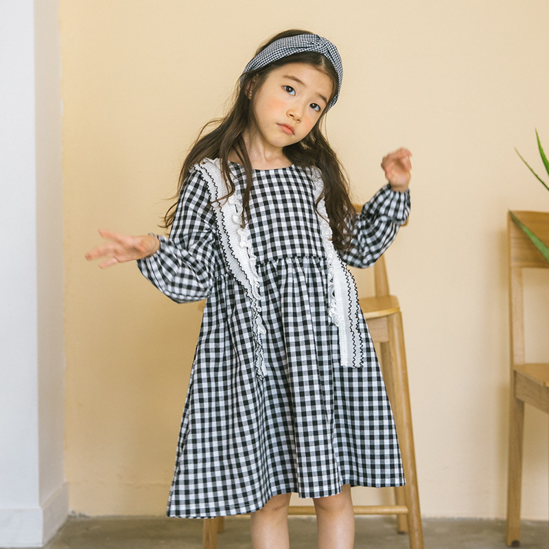 Cotton School Big Girls Clothing Kids Dress 2018 Spring Preppy Style White Plaid Loose Long Sleeve Autumn Dresses Girls Clothes sales size 100 spring autumn dress sets for girls christmas style red dress white cotton sleeved shirts tops 2 pc clothing