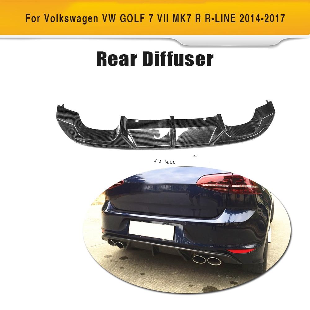 Carbon Fiber Rear Bumper Exhaust Diffuser Lip Spoiler for Volkswagen VW GOLF 7 R R LINE Hatchback Only 14-17 Non Standard