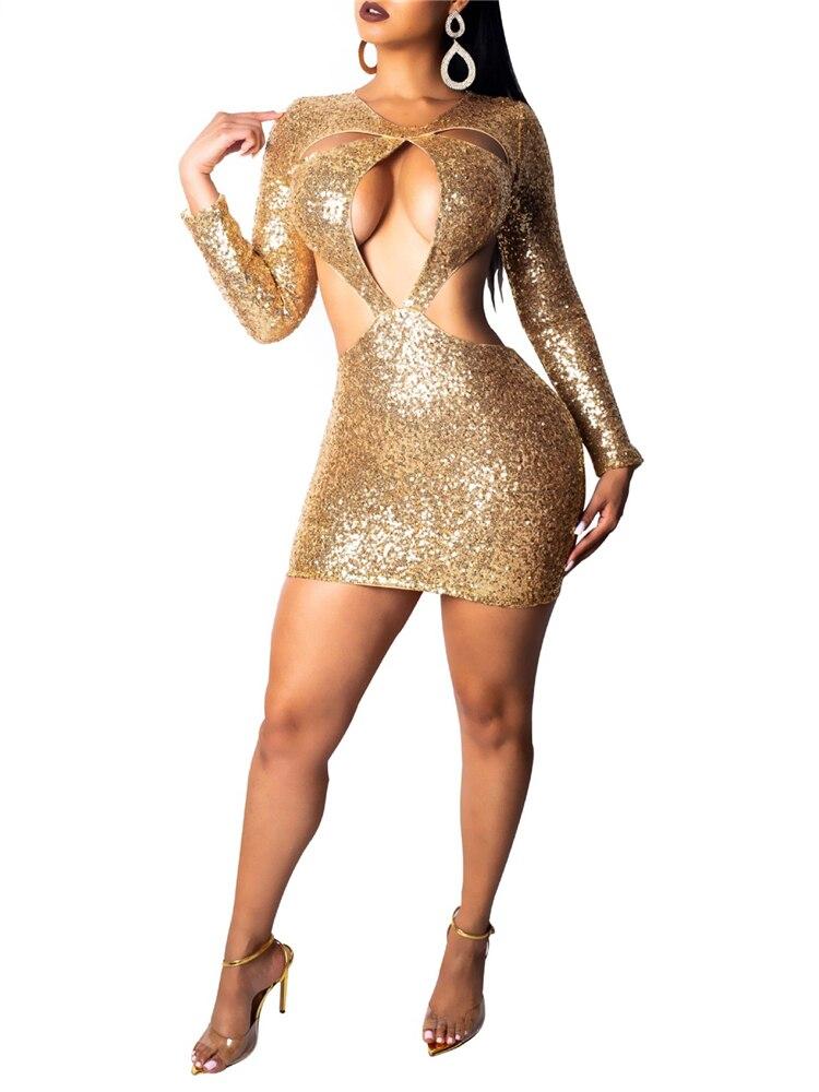 Сексуальное платье для вечеринки Для женщин платья, расшитые блестками, с выдалбливают грудь без спинки с длинным рукавом золото облегающе...