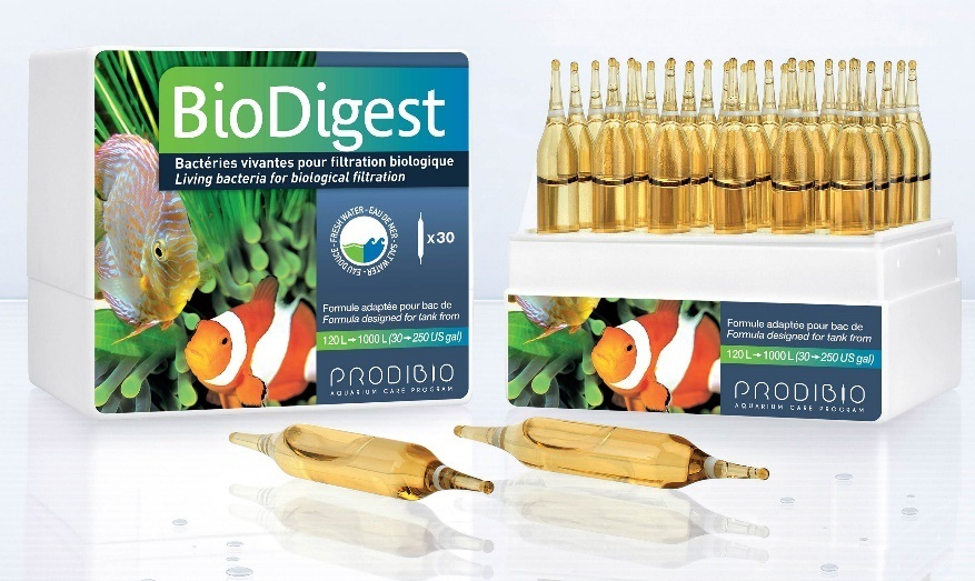 BioDigest PRODIBIO living bacteria for biological filtration fresh fish marine reef coral SPS LPS salty tank