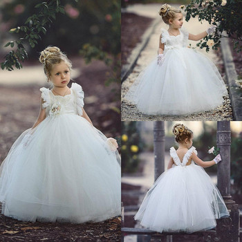 White Lace 3D Flower Baby Girl Birthday Dresses Square Neck Ball Gown Flower Girl Dresses V Back Custom Made Girls Pageant Gown