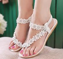 Size 4~8 Summer Sandals White Flower Women Shoes Basic Khaki Solid Women Flats Shoes sandalias mujer (Check Foot Length)