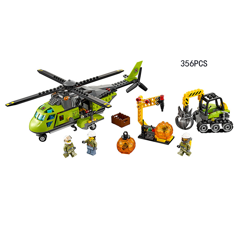 2017 Moc City Series Volcano Exploration Base Block Mini Scientist Worker Figures Helicopter Lepins Brick 60124 Educational Toys volcano