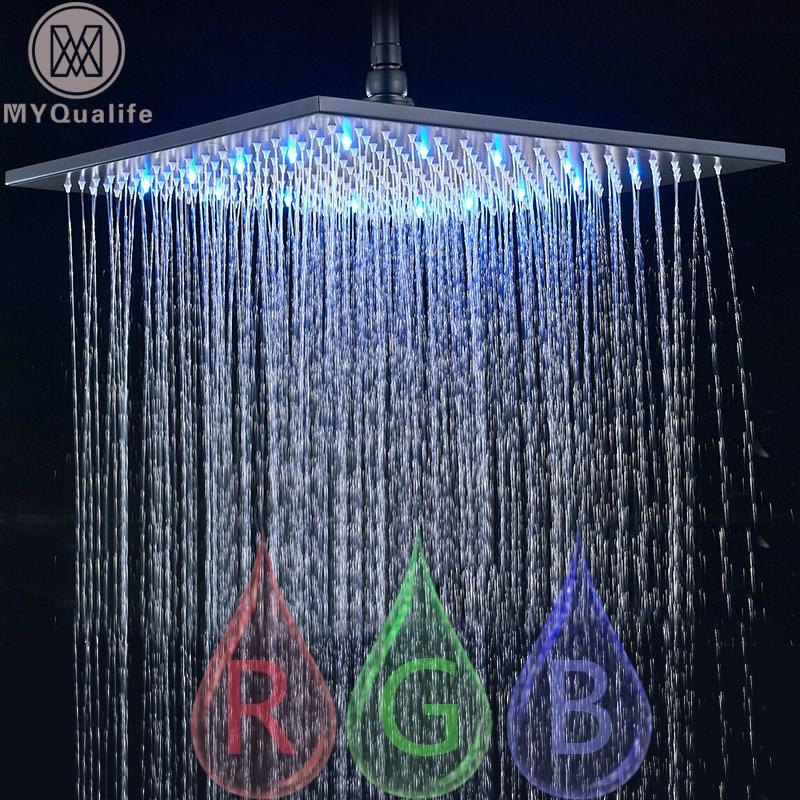 Насадка для душа с дождевой насадкой, светодиодный светильник, 16 дюймов, Большая квадратная латунная головка для душа, меняющая цвет
