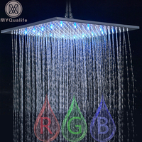 Black Rainfall Shower Head LED Light 16 Large Rainfall Shower Faucet Head Square Brass Showerhead Color Changing Head