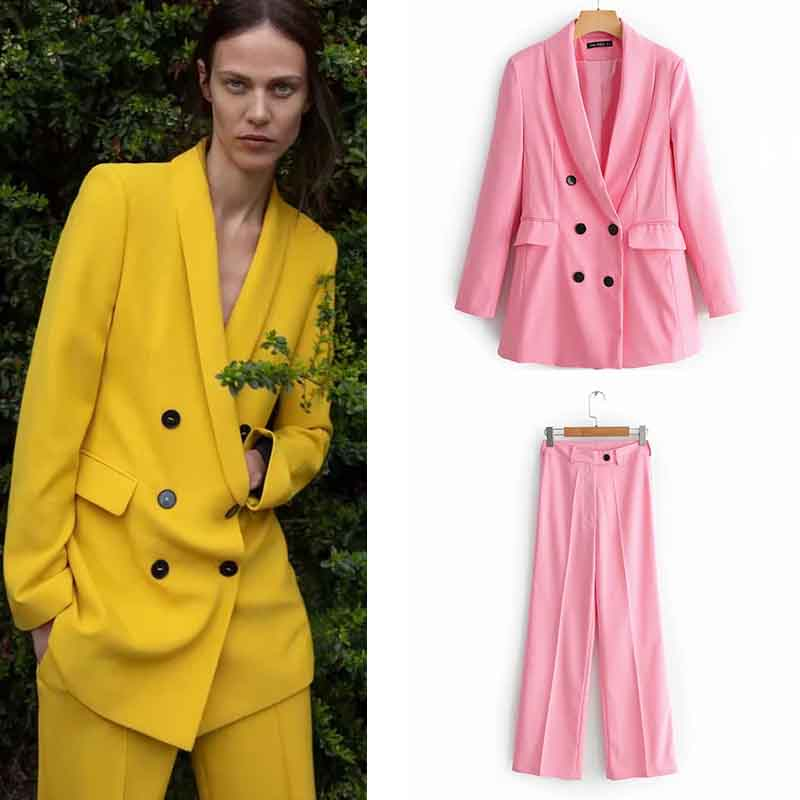 Blazer Women Autumn Winter Suit Casual Double Breasted Pocket Women Blazers And Jackets Jackets Elegant Long Sleeve Outerwear