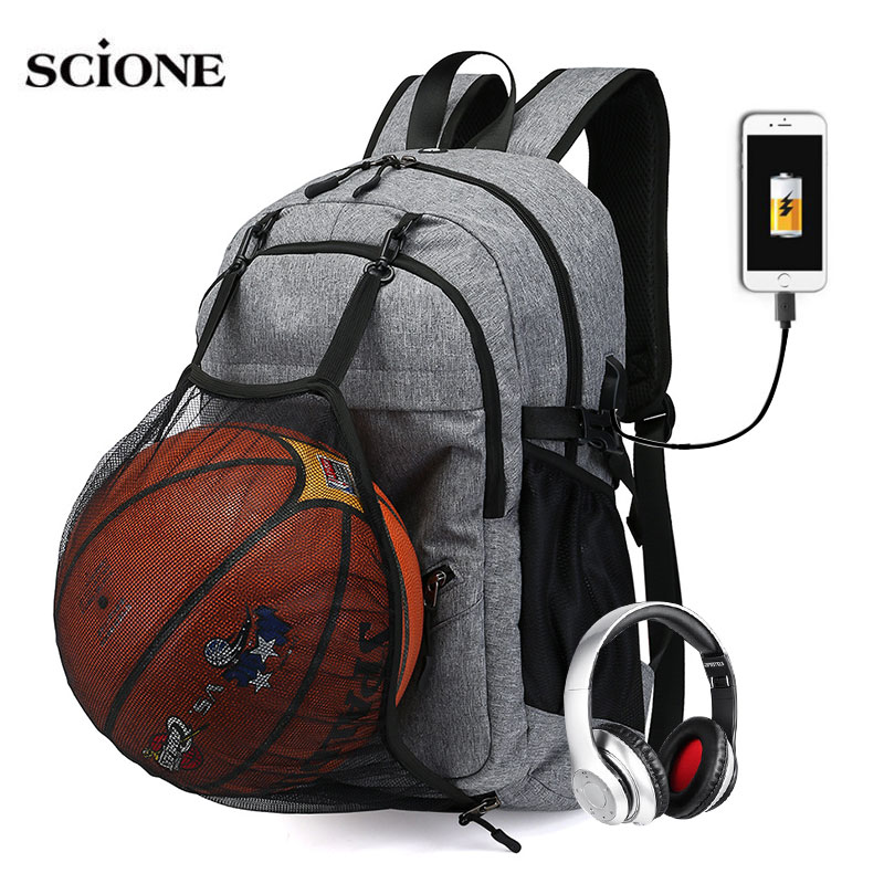 Detail Feedback Questions about USB Basketball Sports Gym Bags Backpack  Fitness Bag For Men Daypack Travel Net Backpacks Rucksack Sac De Sport  Mochila ... aa35ca0a1e