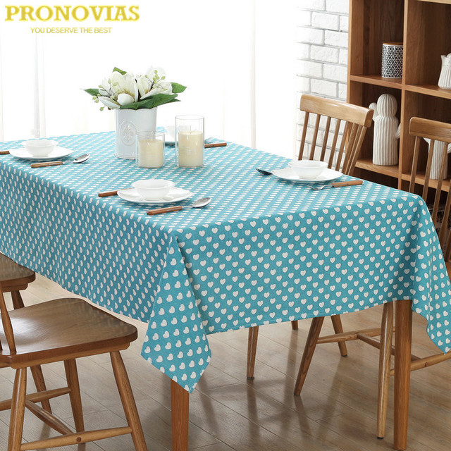 Pronovias Hearts Nordic Waterproof Linen Table Cloth Blue Pink