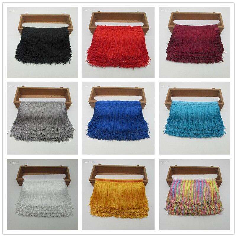Wholesale 1 Yards Fringe Tassel Trimming Lace Latin Dress Macrame Samba Dance Clothing Lace Polyester Single Band 10cm Width