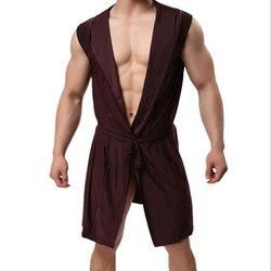 KWAN. Z мужской Халат ледяной шелк пижамы с капюшоном сексуальный тонкий срез кимоно халат мужской Халат roupao большой размер сплошной банный Ха...