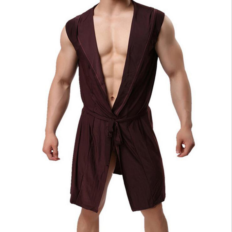 KWAN.Z Men's Bathrobe Ice Silk Hooded Pajamas Sexy Thin Section Kimono Bathrobe Man's Gown Roupao Large Size Solid Bath Robe