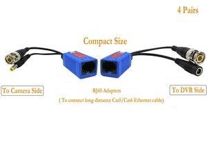 Image 3 - Адаптер Pripaso BNC для RJ45, 4 пары, Пассивный, с питанием, Full HD, 1080P 5MP, камера видеонаблюдения, кабель Ethernet