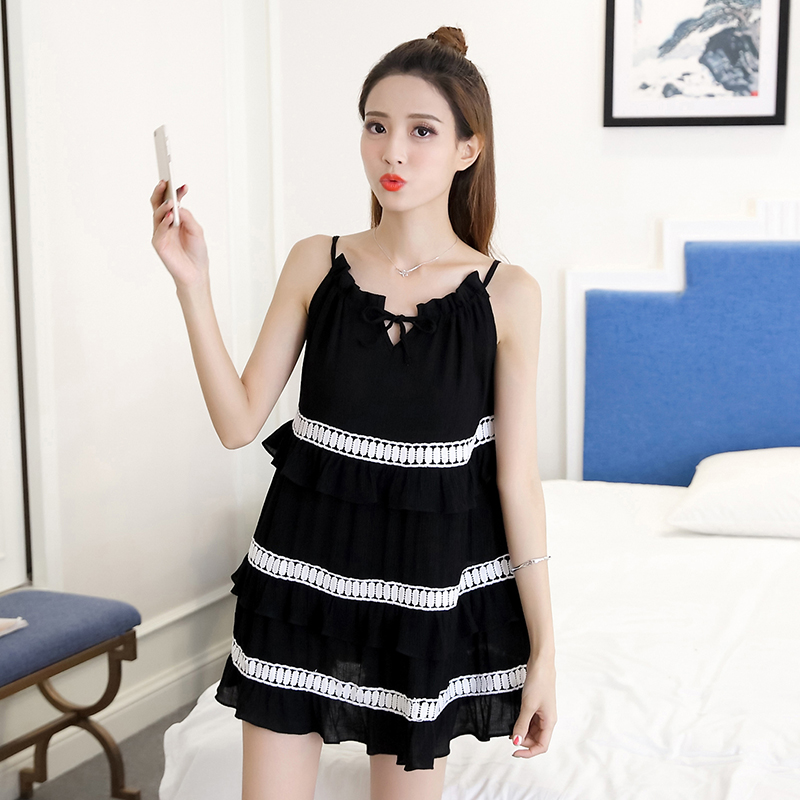 2018 New Summer Women dress Spaghetti Strap Slim Loose Fat Leaking Back Dresses Black 1769