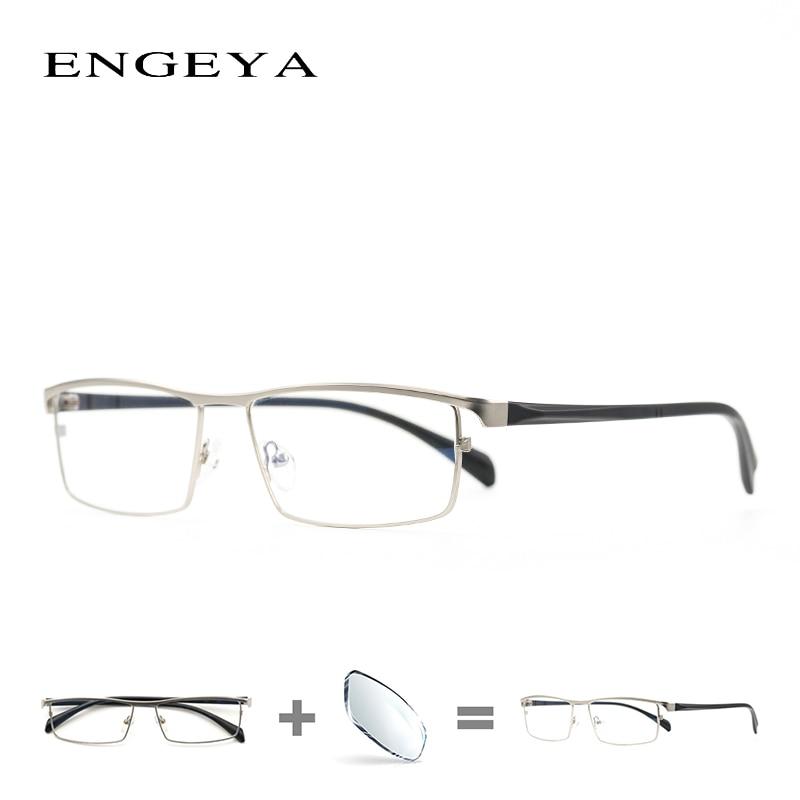 Сплав кадр оптических Для мужчин рецепт очки Бизнес Брендовая дизайнерская обувь ясно Близорукость Компьютерные очки Рамка #001