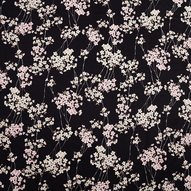 Hlqon 100 Cotton Sa Stretch Cherry Blossoms Black Fabric For Sewing Women Clothing Upholstery Tissue