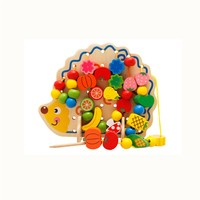 Learning Education Wooden Toys 82 Pcs Hedgehog Fruit Beads Montessori Oyuncak Educational Toy For Children