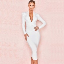 wholesale 2019 Newest Women Deep V-neck long sleeve Sexy Boutique nightclub Celebrity Cocktail party bandage dress(L2927)