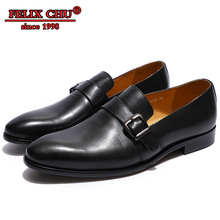 2019 Monk Strap Hasp Loafers Business Office Mens  Leather Dress Shoes Oxfords Formal Casual Footwear Buckle Flats
