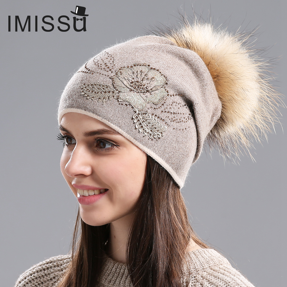IMISSU Women's Winter Hats Knitted Wool Skullies Flower Pattern Fur Pom Pom Hat Gorros Thick Warm Bonnet Beanie Cap for Girls 2017 winter women beanie skullies men hiphop hats knitted hat baggy crochet cap bonnets femme en laine homme gorros de lana