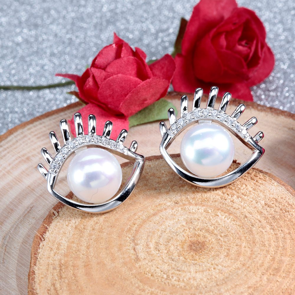 2016 Newest Women Pink Freshwater Pearl Earrings White Gold Plated Jewelry  With Aaa Cubic Zirconia Romantic