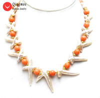 Qingmos Natural Pearl Necklace for Women with 30*60mm Pink Cross Shape Pearl & 9 10mm Pink Coral Necklace Jewelry 17'' nec6373