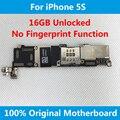 Para iphone 5s placa base placa base original de 100% desbloqueado 16 gb con fichas completas buenas sin huella digital placa lógica