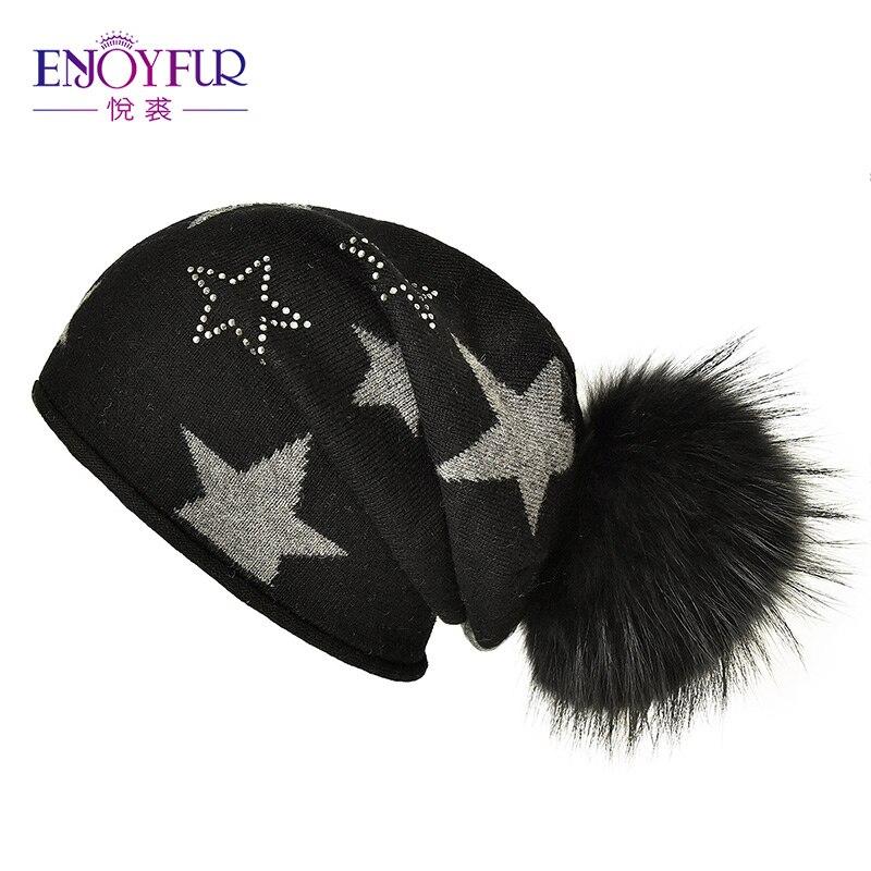 ENJOYFUR Real Fur Pom Pom Hats For Women Fashion Knitted Female Slouchy Cap Rhinestones   Beanies   Gravity Falls Cap