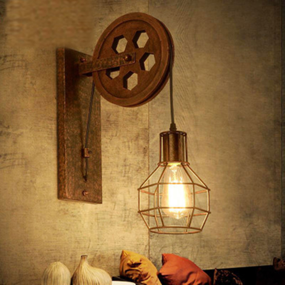 Loft Retro Lamp Creative Lifting Pulley Wall Light Dining Room Restaurant Aisle Corridor Pub Cafe Wall Lamp Bar Wall Sconce nordic retro loft lamps clain necklace lights cafe restaurant bar pub living room dining room club pub aisle stair hall lamp