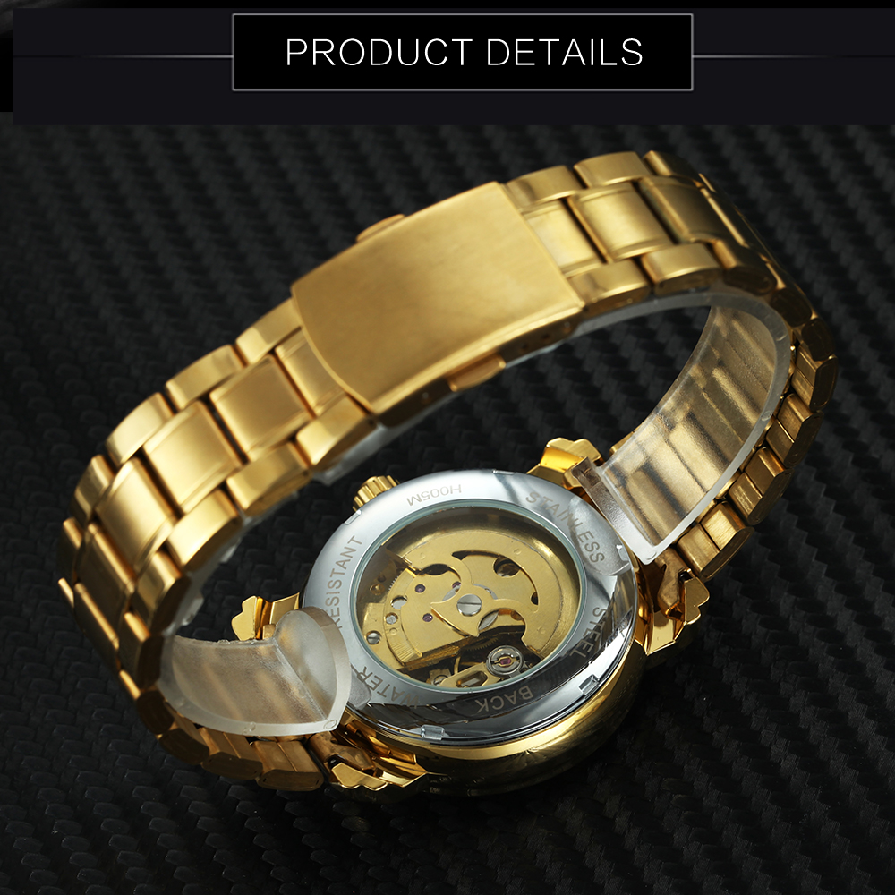 WINNAAR Topmerk Deluxe Vrouw All Golden Automatic Mechanisch horloge - Dameshorloges - Foto 5