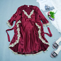 High-grade Lace Robe Silk Summer Sexy Silk Nightgown Sleepshirts Women Short-sleeves Plus Size Sleepwear Lounge onesie