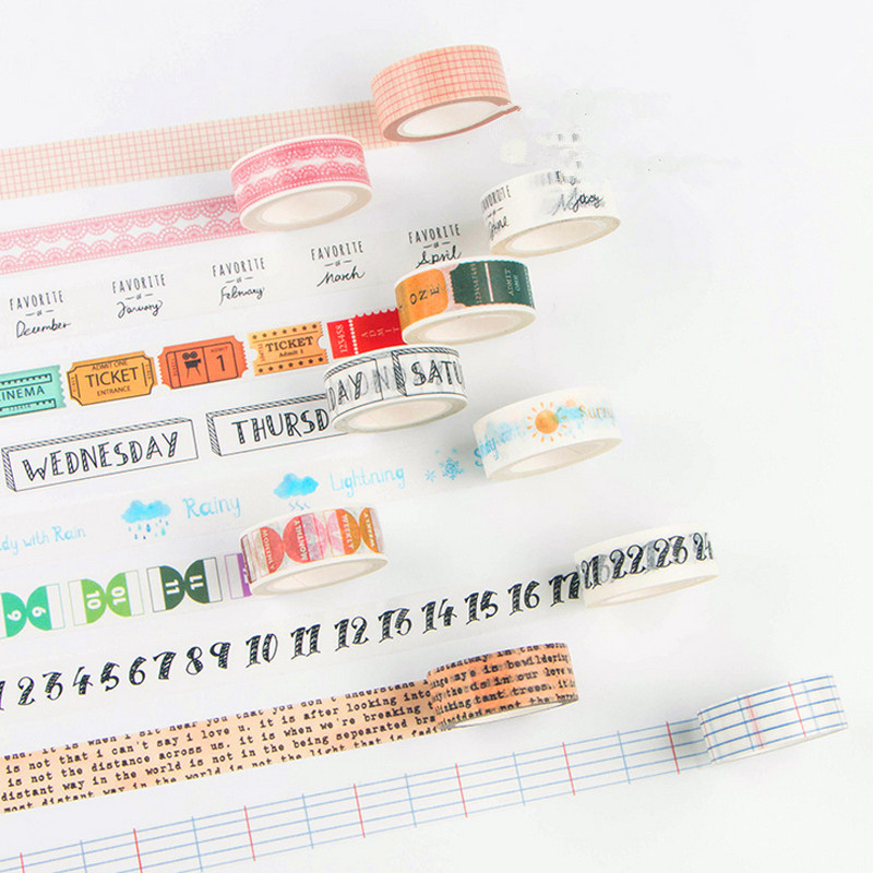 1pcs New Japan Masking Washi Tape Sticker Travel/Week/Number/Rose/Cactus Adhesive Tape Diary Kawaii Scrapbooking Sticker