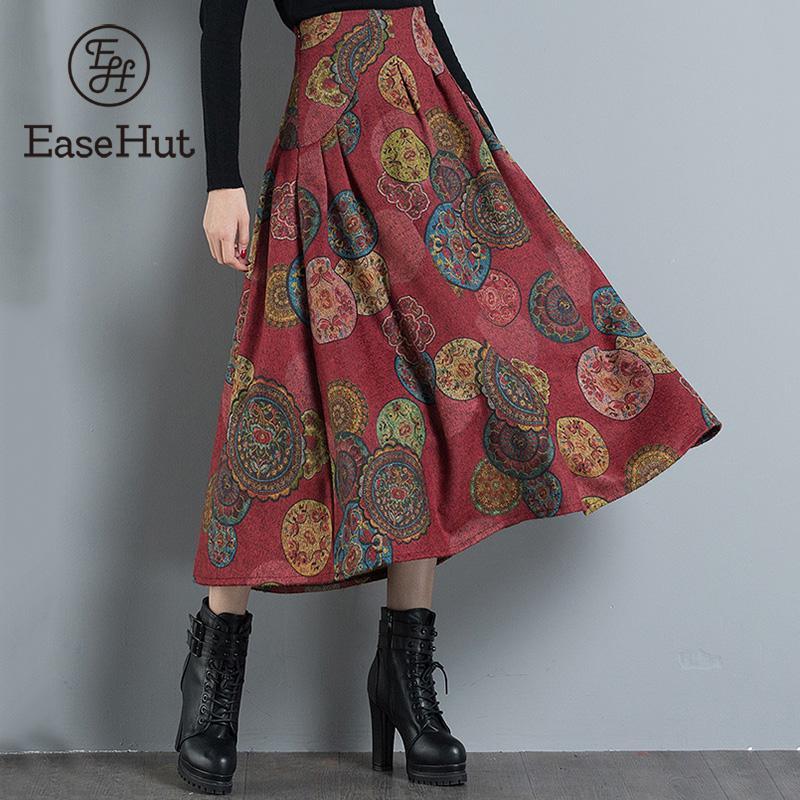 Ethnic Fashion Women Vintage Print Long Skirt High Waist Zipper A-Line Pleated C
