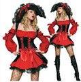 Сексуальный взрослые костюмы красный пират костюм хэллоуин костюмы для женщины одежда с шляпа / униформа XL